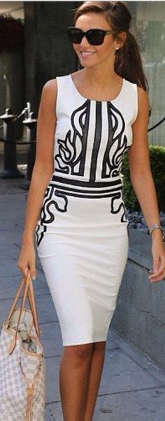 A simple white sheath with an interesting graphic detail is fabulously chic.