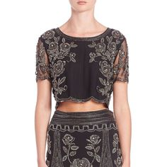 Haute Hippie Embellished Cropped Top ($440) ❤ liked on Polyvore featuring tops, apparel & accessories, black, short sleeve tops, embellished crop top, floral crop top, see through tops and black crop top