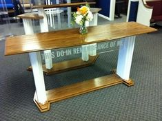 "The Proclaimer Table model is a heavy and impressive table with the Acrylic underneath with the inscription ""This Do In Remembrance of Me"" Altar, The Proclaimers, Display Pedestal, In Remembrance Of Me, Communion, Entryway Tables, Chair, Wood, Church Ideas"