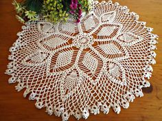 Vintage Large Doily Ecru Centerpiece Doilies Crocheted Doilys  B183 by treasurecoveally on Etsy