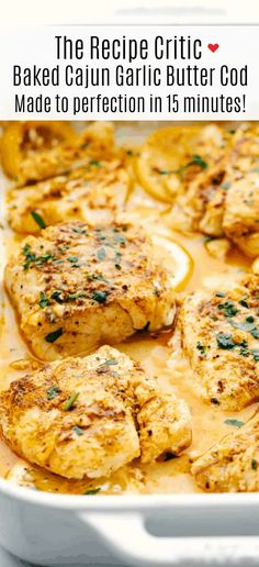cajun cooking Baked Cajun Garlic Butter Cod is a tender and juicy cod filet baked in a buttery cajun seasoning with garlic cloves andolive oil makingthis cod a flavorful anddelicious dinner. Baked to perfection in 15 minutes! Seafood Dishes, Seafood Recipes, Cooking Recipes, Healthy Recipes, Cod Dishes, Cajun Cooking, Donut Recipes, Fish And Seafood, Fish Dinner