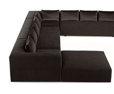 """Calvin Sectional Sofa  Designed by Douglas Levine for Bright. Upholstered sectional sofa with a tight seat. Size: 120"""" W x 162"""" L x 42"""" D x 26"""" H, and Ottoman: 42"""" W x 42"""" D x 16.5"""" H"""