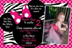 pink zebra minnie mouse invitation | SALE - Custom Pink Zebra Minnie Mouse Invitation with FREE Thank you ...