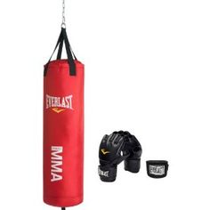 Everlast Mixed Martial Arts Heavy Bag Red, 70-Pound. Dad's b-day gift on which I am going to take out my stress and anger!