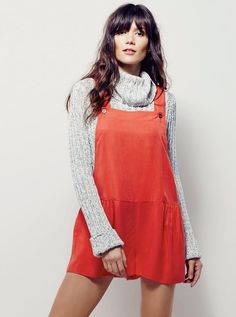NEW Free People muted red orange lyocell Shortall Overalls Romper L #FreePeople #overalls