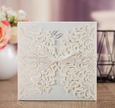 WISHMADE Customized Elegant White Lace Laser Cut Card Wedding Invitations Cards With Envelope  50pcs/Lot Black Printed AW7015