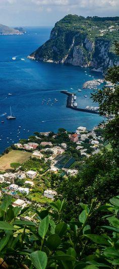 Majestic bluffs overlooking turquoise sea ~ Island of Capri, Italy: