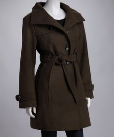 Military Green High Collar Peacoat by Black Rivet on zulily