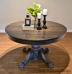 When our client requested a unique table for his new home we couldn\'t pass up this century old, quater sawn oak, paw foo Oak Table And Chairs, Dining Table Chairs, Round Dining Table, Round Farmhouse Table, Wood Tables, Rustic Table, Painted Oak Table, Painted Kitchen Tables, Refinishing Kitchen Tables