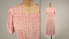 SALE • 1930s sheer eyelet dress • vintage 30s dress • deco day dress