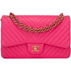 Pre-Owned Chanel Fuchsia Chevron Jumbo Classic Double Flap Bag ($7,100) ❤ liked on Polyvore featuring bags, handbags, chanel, purses, bolsas, borse, pink, quilted hand bags, pink hand bags and pink quilted purse