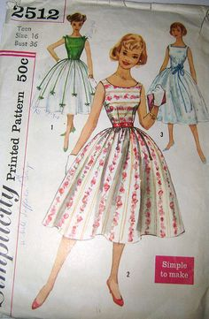 Vintage 1950s Party Dress Pattern