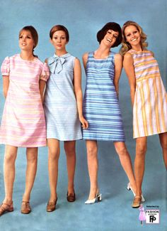 Knee stripes bow blue pink yellow pastels vintage dress shift and f 60s Fashion Trends, 60s And 70s Fashion, Seventies Fashion, 60 Fashion, Fashion History, Fashion Photo, Retro Fashion, Vintage Fashion, Fashion Check