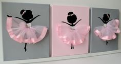 Set of three 8x10 canvases with dancing ballerinas. Canvas background and ballerina silhouettes are painted with acrylic paint. Dancers are decorated with tulle and silk ribbon skirts, rhinestones and beads.  Great wall art for girl's nursery or toddler girl's room.  Custom orders are always welcome.  If youd like to add ribbons for hanging please click on the link below to purchase this option:  https://www.etsy.com/listing/470709654/ribbon-ribbon-for-hanging-canvass...