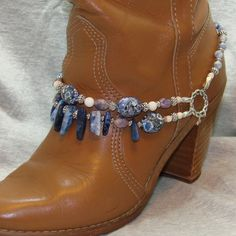 Beaded Boot Bracelet of Blue and Lilac Mosaic by FunkyFrogsCrafts, $60.00