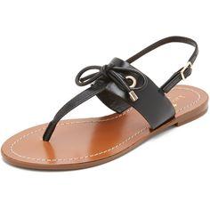 Kate Spade New York Carolina Thong Sandals (125 PAB) ❤ liked on Polyvore featuring shoes, sandals, black, black thong sandals, black shoes, black low heel shoes, black low heel sandals and black bow sandals