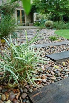 Garden Path - Tumbled pebbles with inset timber sleepers.