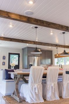 This beautiful ceiling from blog.jeannasuedesign.com would be so easy to replicate using Prefinished Wood Accents in Cape Cod Linen.  Тавана