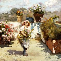 Young Girl Gathering Flowers ~ Vincenzo Irolli     (1860-1949)