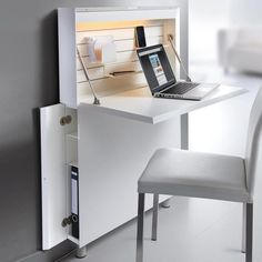 Ultra-flat secretary Your perfect office - on just 0.09 m² (!) Floor space ...  #floor #m² #office #perfect #secretary #space #ultra #Ultraflat Multifunctional Furniture, Smart Furniture, Space Saving Furniture, Home Office Furniture, Furniture Design, Space Saving Desk, Furniture Price, Furniture Storage, Ikea Furniture