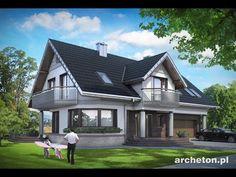 Projekt domu Heliotrop Max - duży dom, z kolumnami od strony frontu i garażem dwustanowiskowym beton komórkowy - Archeton.pl
