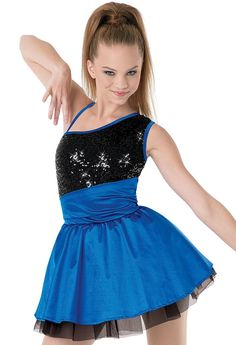 One Shoulder Satin & Sequin Party Dress | Balera™