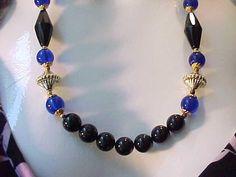"""Vintage Necklace Plastic Lucite Bead Strand Black & Glowing Blue gold T 24"""" #Unbranded #StrandString"""