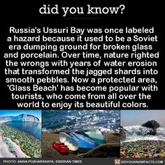 Russia's Ussuri Bay was once labeled a hazard because it used to be a Soviet era dumping ground for broken glass and porcelain. Over time, nature righted the wrongs with years of water erosion that transformed the jagged shards into smooth pebbles. Oh The Places You'll Go, Cool Places To Visit, Places To Travel, Travel Things, Travel List, Travel Goals, Wtf Fun Facts, Random Facts, All Nature