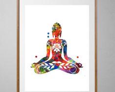 Sitting Buddha Art print, yoga illustration poster, buddhist spiritual wall art, Boho Art wall hanging home decor yoga mantra art Buddha Kunst, Buddha Art, Watercolor Trees, Watercolor Print, Yin Yang, Meditation Art, Meditation Tattoo, Yoga Art, Yoga Illustration