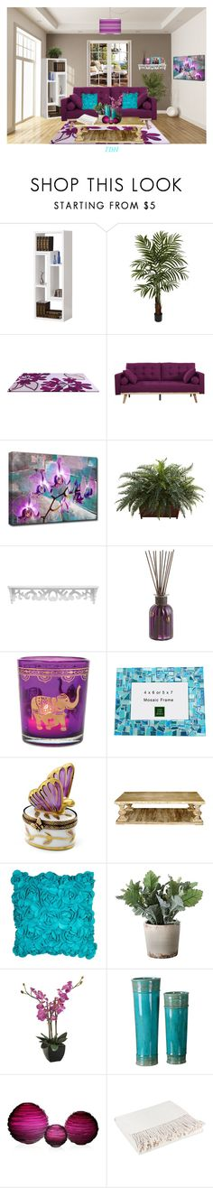 """""""Teal & Purple Living Room"""" by talvadh ❤ liked on Polyvore featuring interior, interiors, interior design, home, home decor, interior decorating, Nearly Natural, Ready2hangart, Pier 1 Imports and CFC"""