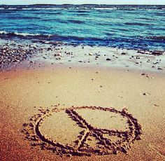 Peace sign in the sand on the beach. Description from pinterest.com. I searched for this on bing.com/images