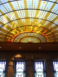 Art Deco Stained Glass Ceiling - Buffalo City Hall  Buffalo, New York  http://www.travelandtransitions.com/our-travel-blog/