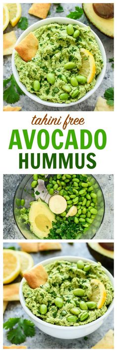 With this easy tahini-free avocado hummus recipe, you don't need tahini to create a super flavorful hummus dip! Made with avocado, edamame, fresh lemon, and garlic. Vegan, gluten free, and packed with flavor! | http://www.wellplated.com /wellplated/
