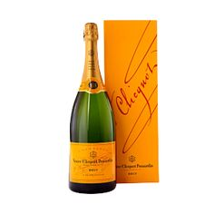 Veuve Clicquot Yellow Label Brut Magnum 1.5 l. Golden yellow, with a necklace of tiny bubbles. Initially reminiscent of white fruits and raisins, then of vanilla and later of brioche. To take into account the balance between the fruity aromas coming from the grape varieties and the toasty aromas.