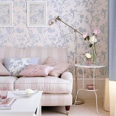 wall paper birds blue Laura Ashley