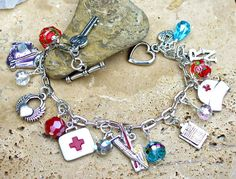 Roses Registered Nurse Charm Bracelet by KipajiPraiseJewelry, $30.00