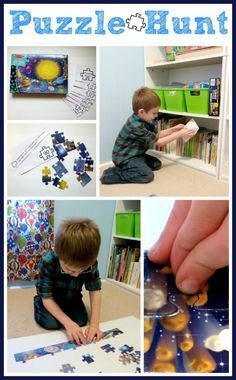 Puzzle hunt using 100-piece solar system puzzle & printable (via Childhood Beckons)