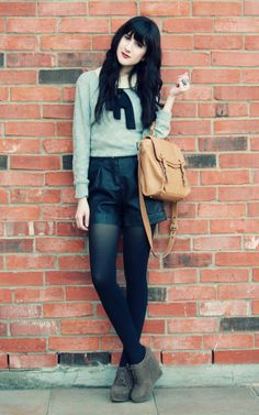 black hair. tights with shorts. yessss!