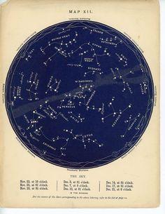 1884 november & december constellations star map original antique celestial astronomy chart
