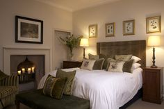 Beltingham House via house-parties.co.uk: Wonderful Cream & Green Bedroom with classic styling exuding luxury and warmth.