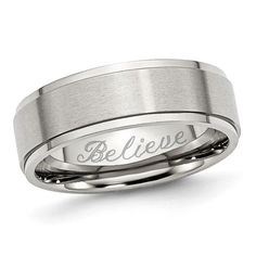 Zales Mens 7.0mm Engravable Wedding Band in Stainless Steel with Black IP (1 Line) w6cBY