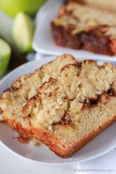 Warm Apple Pie Bread starts with a soft buttery base and loads of fresh apples mixed within and layered throughout with a cinnamon ribbon. It's all topped off with a sweet and crunchy cinnamon topping for the perfect apple pie inspired slice. Quick Bread Recipes, Apple Recipes, Baking Recipes, Dessert Recipes, Bread Cake, Dessert Bread, Breakfast Dessert, Apple Pie Bread, Apple Strudel
