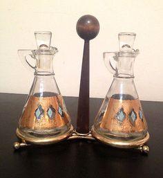 Vintage Mid Century Modern Gl Oil Vinegar Cruets W Walnut Br Caddy