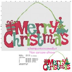 free christmas cross stitch ornament patterns: Colorful Merry Christmas Text Present And Tree Door Hanger Xmas Cross Stitch Patterns Pat Xmas Cross Stitch, Cross Stitch Charts, Cross Stitch Designs, Cross Stitching, Cross Stitch Patterns, Merry Christmas Text, Christmas Cross, Christmas Charts, Christmas Door