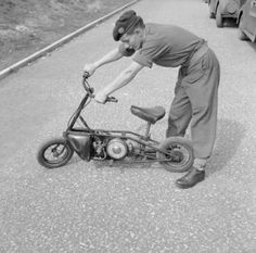 Welbike - folding 2-stroke motorcycle - as used by 1st Airborne Division, 29 August 1942. The Welbike was created specifically for the SOE but also used by the British Armed Forces (Royal Marine Commandos and Paratroopers)