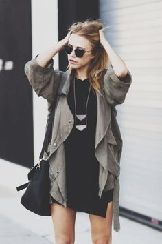love the trenchy jacket, short dress and long necklace.  cute with slouchy boots
