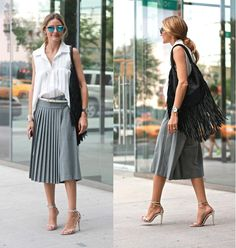 For my second NYFW show of the day I'm headed to one of my favorites, Tibi. Here I'm wearing a BCBG blouse tucked into a pair of pleated culottes from Tibi with Westward Leaning sunglasses, Jemma Wynne earrings, a Barbara Bonner bag and silver Aquazzura x Olivia Palermo sandals.