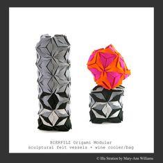 Bierfilz Origami Modular vessels, vase, wine cooler, bag, Illu Stration by Mary-Ann Williams