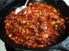 Cowboy Beans. These are the best beans ever. Even people who normally don't eat beans love these.