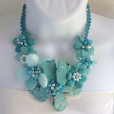 Turquoise/ Chalcedony Flower Necklace